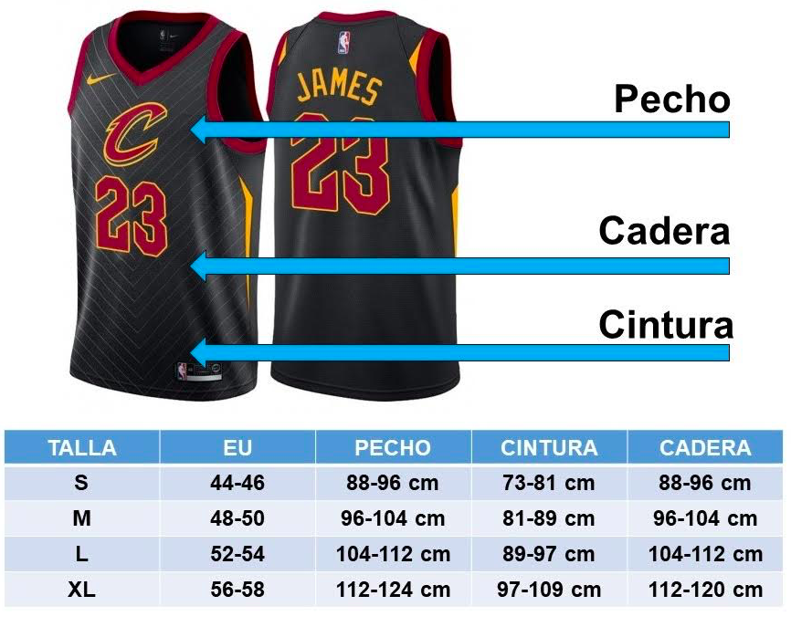 tallas camisetas nba adulto