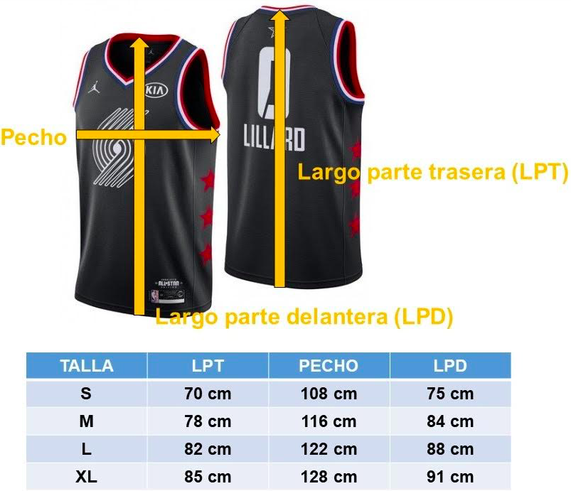 tallas camisetas nba jordan